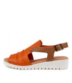 Madis Dj Bright Orange Dk Tan Leather