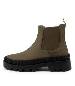 Piah Mo Olive Black Sole Canvas