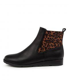 Qwiet Mo Black Leopard Leather Elastic