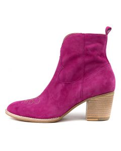 BERTHIE FUCHSIA NATURAL SUEDE EMBROIDERY